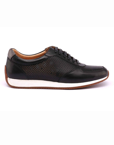 Perforated Black Leather Sneakers