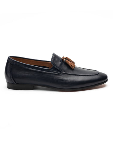 Navy Loafer with Tan Tassel