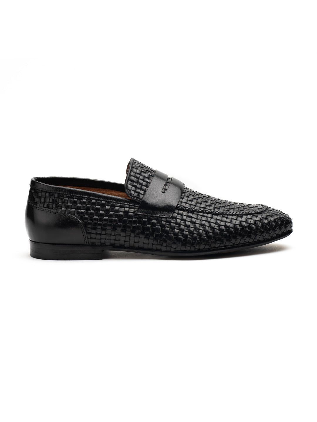 Textured Black Penny Loafers