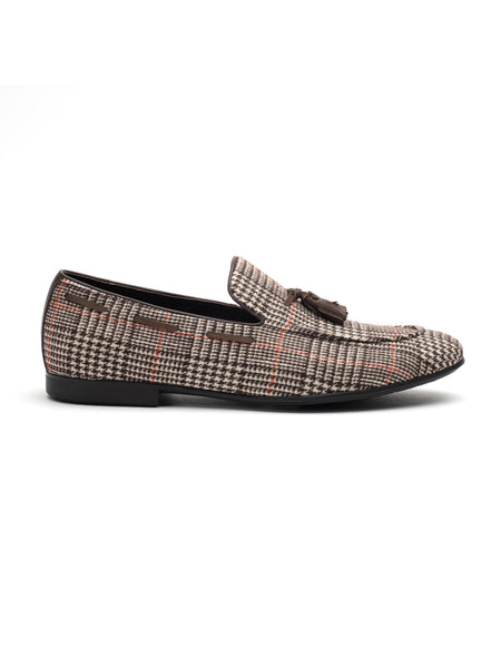 Checkered Brown Tassel Loafer