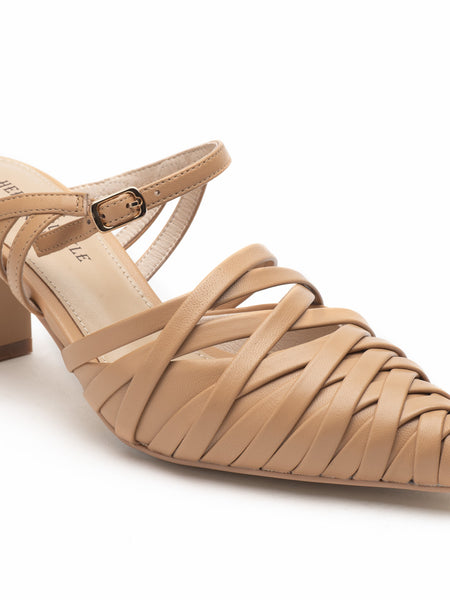 Asymmetrical Beige Strappy Sandals