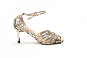 Metallic Gold Ankle Strap Sandals