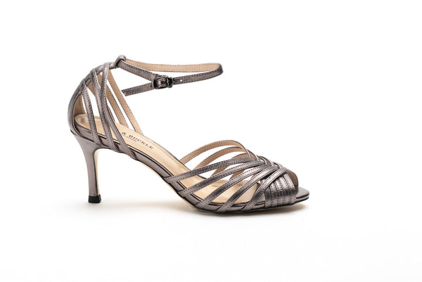 Metallic Grey Ankle Strap Sandals