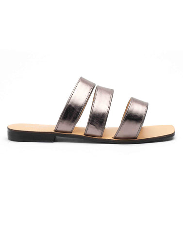 Metalllic Grey Strap Flat Sandals