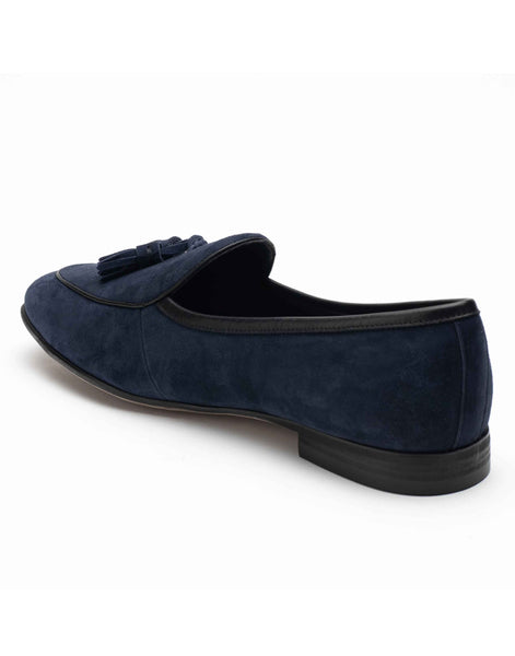 Sliced Navy Suede Loafers