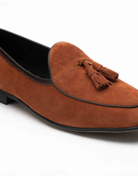 Sliced Tan Suede Loafers
