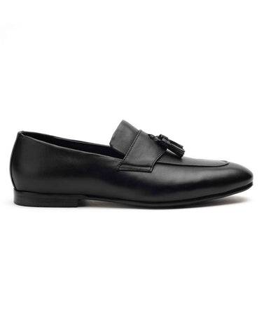 Crest Black Tassel Loafers