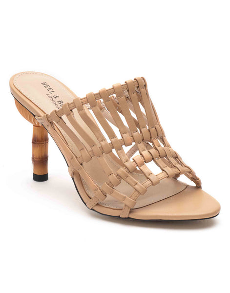 Beige Strappy Heel Sandals
