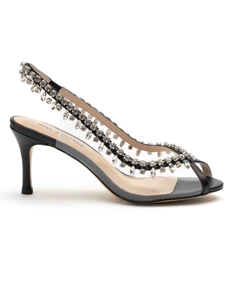 Black Studded Perspex Open Toe Sandals