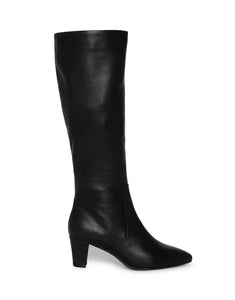 Black Knee Length Leather Boots