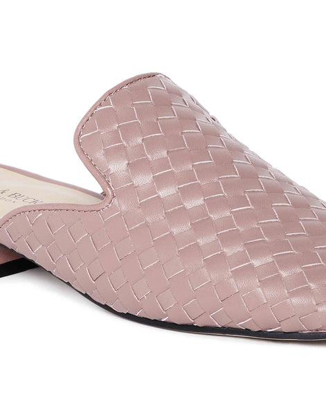 Pink Woven Mules