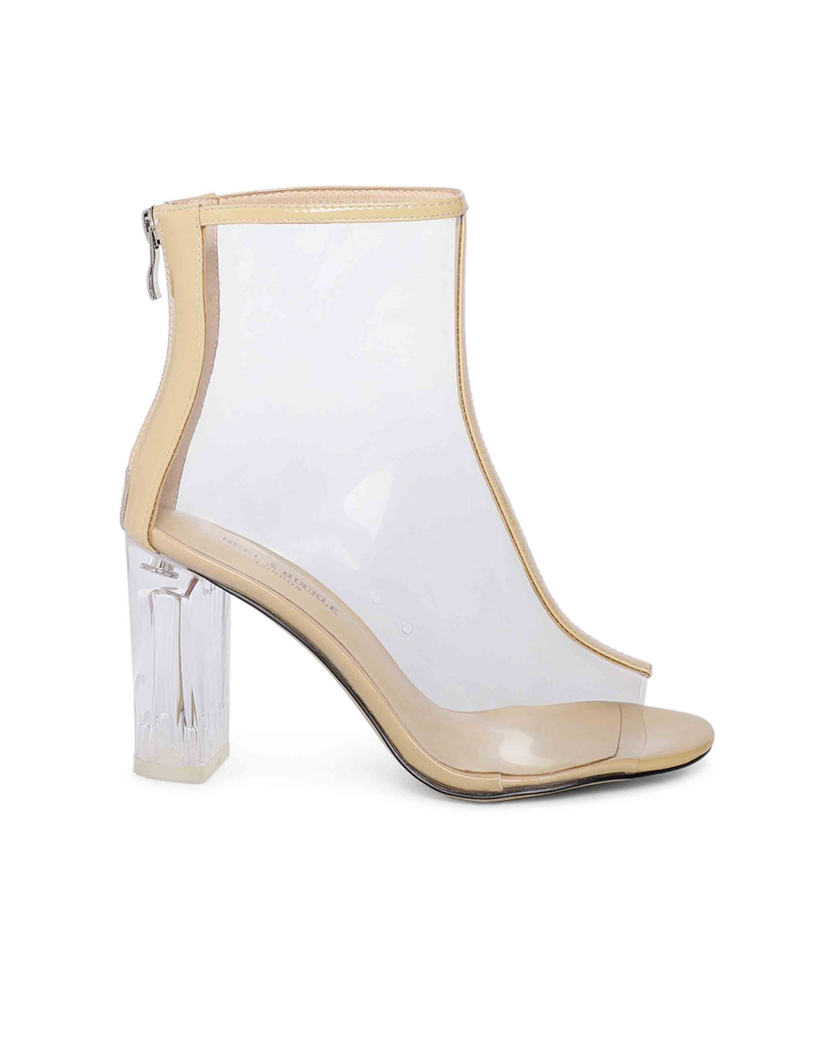 Beige Lucite Peep-toe Boots