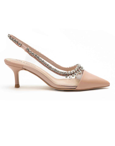 Blush Pink Studded Perspex Sandals