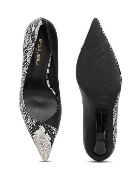 Snake print Triangular Pumps