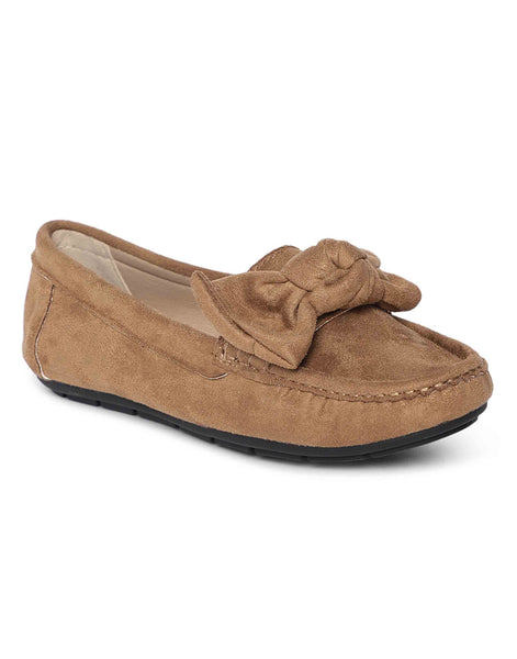 Tan Bow-Tie Loafers