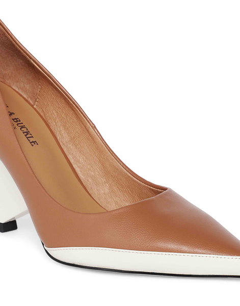 Tan and White Triangular Pumps