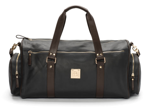 Navy & brown duffle bag