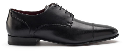 Black Cap-Toed Derby Shoes
