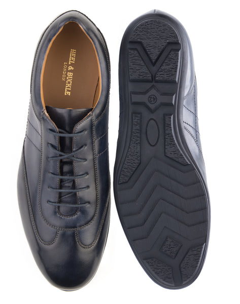 Heel & Buckle London Navy Leather Sneakers