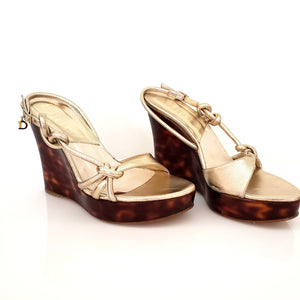 CHRISTIAN DIOR, Tortoise Art Wedge with Gold Leather