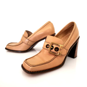 Miu Miu Tan Leather Heel Loafer Pumps