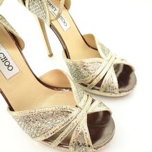 Load image into Gallery viewer, Jimmy Choo Silver / Gold 'fayme' Champagne Glitter Strappy Sandals