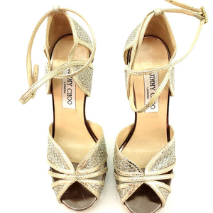 Jimmy Choo Silver / Gold 'fayme' Champagne Glitter Strappy Sandals