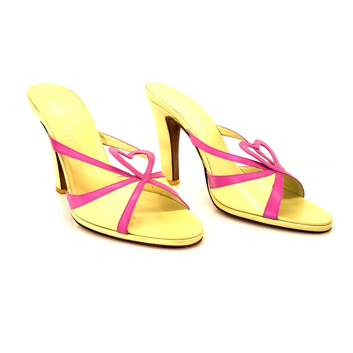 Michel perry Neon Green and Pink (Fucsia) Heart Sandals