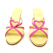 Load image into Gallery viewer, Michel perry Neon Green and Pink (Fucsia) Heart Sandals