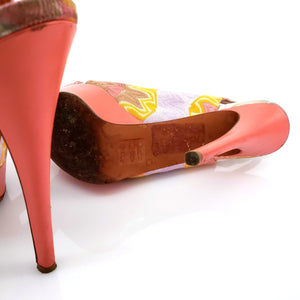 Missoni Multicolor Orange Label Pink Knitted Cork Peep Toes Platforms