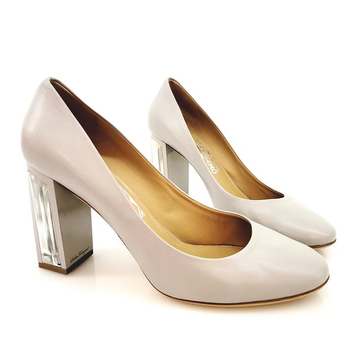 Salvatore Ferragamo Light Taupe With See Through Heel Pumps