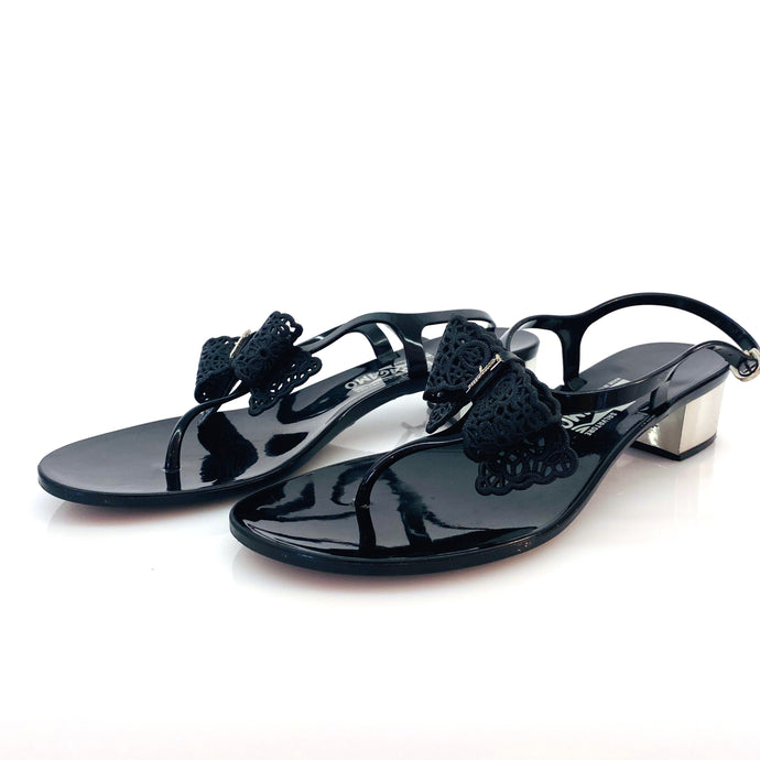 Salvatore Ferragamo Patent Leather with Bow Sandals
