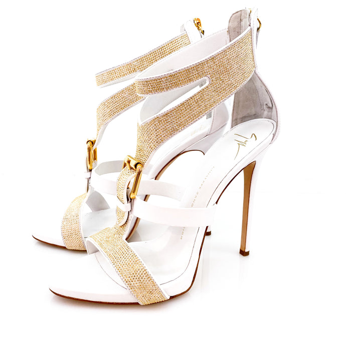 Giuseppe Zanotti White Column Leather Heels Pumps