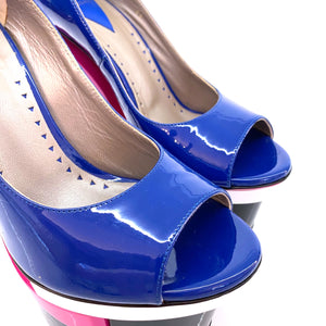 Versace Blue Stacked Peep Toe Pumps Pcs Platforms