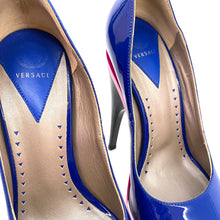 Load image into Gallery viewer, Versace Blue Stacked Peep Toe Pumps Pcs Platforms