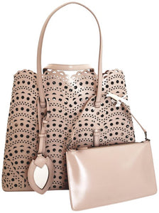 ALAÏA Mina Large Lux Vienne Light Pink Calfskin Leather Tote