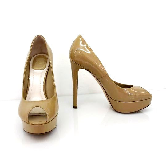 Dior Nude Christian Patent Leather Peep Toe Pumps Platforms