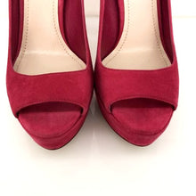 Load image into Gallery viewer, Miu Miu Pink Fuschia Suede Peep Platforms