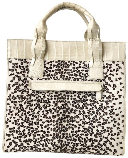 Nancy Gonzalez Snow Leopard Crocodile White Calf Hair Tote