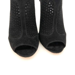Prada Black Perforated Suede Booties Pumps