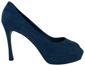 Saint Laurent Blue Suede Peep Platforms