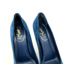 Load image into Gallery viewer, Saint Laurent Blue Suede Peep Platforms