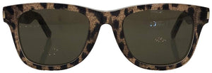 Saint Laurent Gray/ Brown Sl51 Leopard Wayfarer Sunglasses