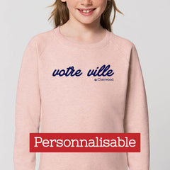 "Sweat Fille rose ""Personnalisable"""