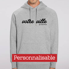 Hoodie homme gris personnalisable