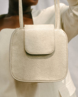 Yoko Tote in Bone Python Embossed Vegan Leather