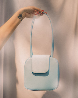 Yoko Tote in Sky Blue Polyester Satin