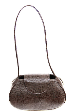 Ineva Baguette in Chocolate Brown Lizard Embossed Vegan Leather