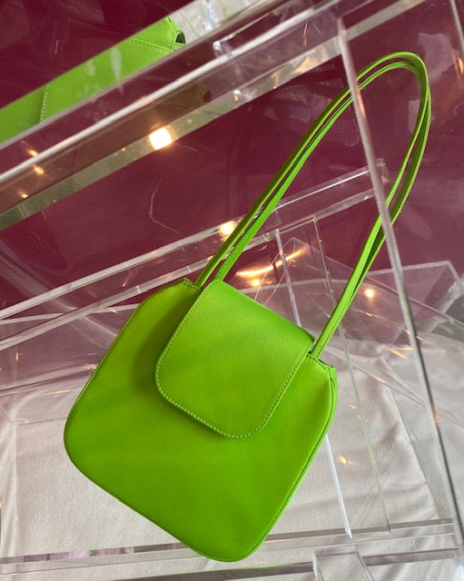 Yoko Tote in Lime Green Polyester Satin