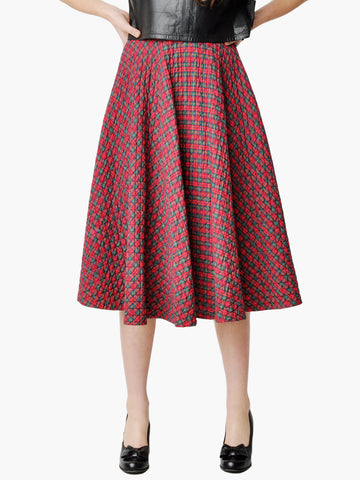 Vintage Quilted Red Plaid Circle Skirt